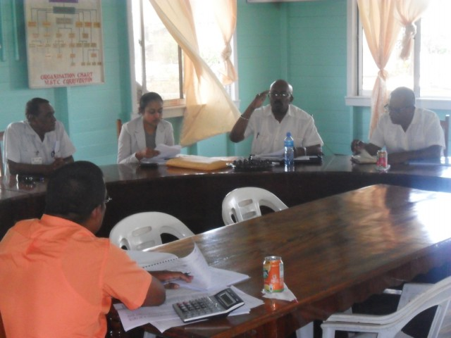 Minister of Local Government and Regional Development Norman Whittaker addressing the meeting at the Corriverton Municipality