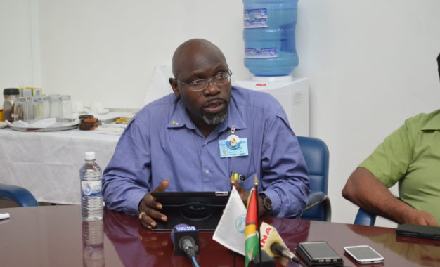 Guyana Water Incorporated's Region 10 Divisional Manager, Rawle Friday addressing the media