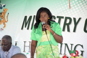 Minister within the Ministry of Communities with Responsibility for Housing, Valerie Adams-Patterson addresses Berbicians