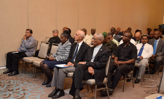 President David Granger and Minister of Bulkan sit among the audience at the opening of the inaugural NRDCC at the Marriot Hotel on Friday, January 20, 2017