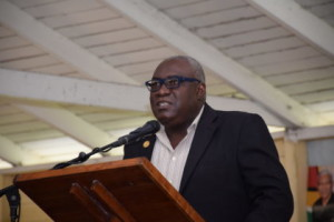 CEO (ag) of the Ministry of Education, Marcel Hudson, delivering remarks at the launch of the Green Generation Guyana Awareness Project at the West Ruimveldt Primary School
