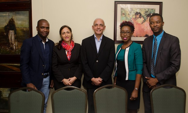 [In the photo, from left] – Mayor of Bartica, Gifford Marshall, Regional Coordinator of Resource Efficiency, Adriana Zacarias, Minister of Communities, Ronald Bulkan, Head of Office of Climate Change, Jenelle Christian and President of Guyana Association of Municipalities (GAM), Carwyn Holland.