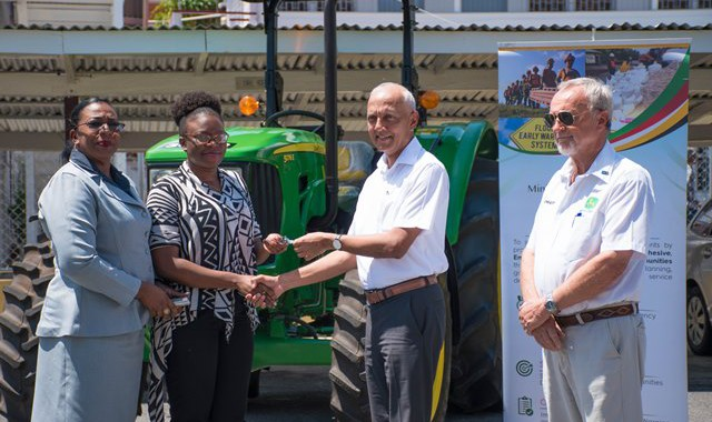 Communities ministry present tractors to three councils