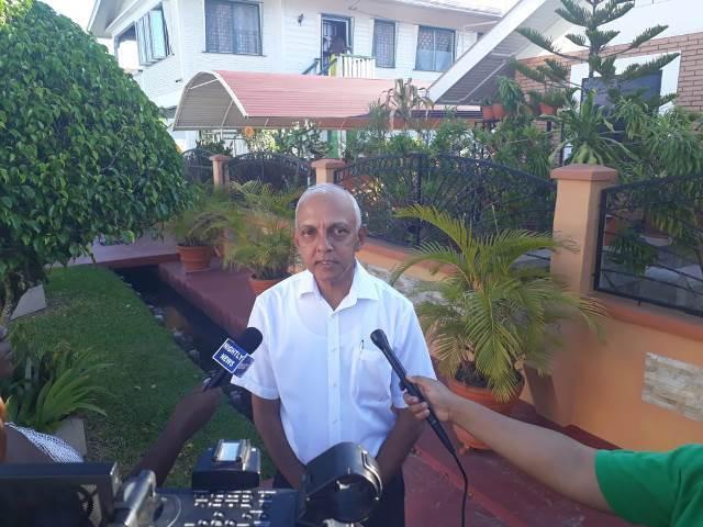 Minister of Communities, Ronald Bulkan speaking to members of the media.