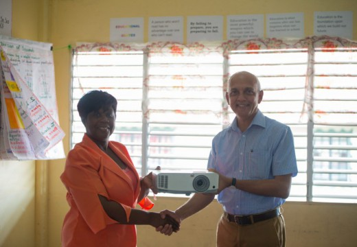 Minister Bulkan hands over equipment to Sophia Primary